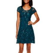 Speechless Cap-Sleeve Glitter Lace Fit-and-Flare Dress