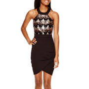 Crystal Doll Sleeveless Halter Sequin-Bodice Short Dress