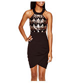 Crystal Sky Sleeveless Halter Sequin-Bodice Short Dress- Juniors