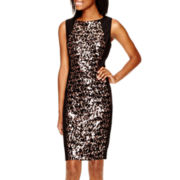 Crystal Sky Sleeveless Sequin-Panel Sheath Dress
