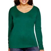 Stylus™ Long-Sleeve V-Neck T-Shirt - Plus