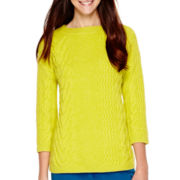 Stylus™ Long-Sleeve Boxy Cable Sweater - Tall