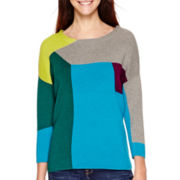 Stylus™ 3/4-Sleeve Colorblock Intarsia Sweater - Tall