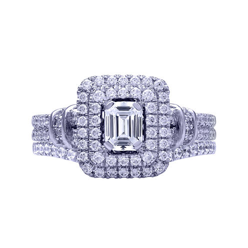 Modern Bride® Signature 1¼ CT. T.W. Certified Diamond 14K White Gold Bridal Ring Set