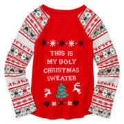 Arizona Long-Sleeve Holiday Tee - Preschool Girls 4-6x