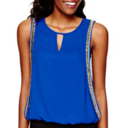 XOXO® Sleeveless Woven Embellished Top