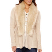 Liz Claiborne® Long-Sleeve Faux-Fur-Collar Cardigan - Tall
