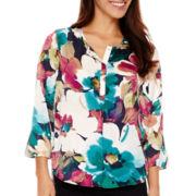 Liz Claiborne® 3/4-Sleeve Henley Blouse