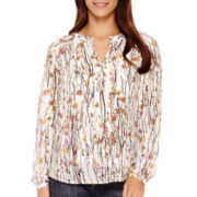 Liz Claiborne® Long-Sleeve V-Neck Blouse