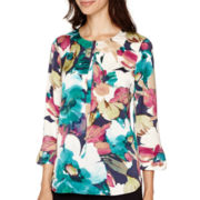 Liz Claiborne® 3/4-Sleeve Henley Blouse - Tall