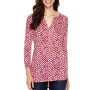Liz Claiborne® 3/4-Sleeve Print Split-Neck Henley T-Shirt