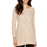 Liz Claiborne® Long-Sleeve Cable Tunic Sweater