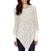 Liz Claiborne® Cable Poncho - Tall