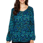 Liz Claiborne® Long-Sleeve Button-Front Woven Blouse - Tall