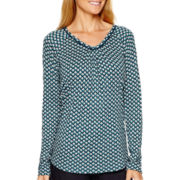 Liz Claiborne® Long-Sleeve V-Neck Knit T-Shirt
