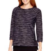 Liz Claiborne® 3/4-Sleeve Split-Hem T-Shirt