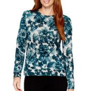 Liz Claiborne® Long-Sleeve Print Sweatshirt
