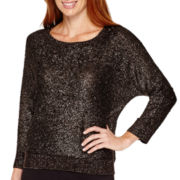 Liz Claiborne® 3/4-Sleeve Foil Sweater
