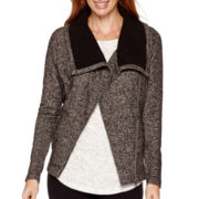 Liz Claiborne® Weekend Sherpa-Collar Front-Zip Jacket