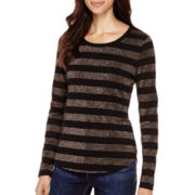 Liz Claiborne® Long-Sleeve Metallic-Striped T-Shirt