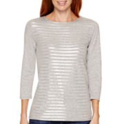 Liz Claiborne® 3/4-Sleeve Scoopneck T-Shirt