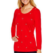 Liz Claiborne® 3/4-Sleeve Beaded Scoopneck T-Shirt
