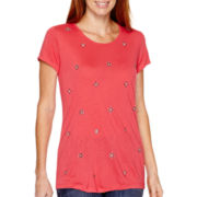 Liz Claiborne® Short-Sleeve Beaded Scoopneck T-Shirt