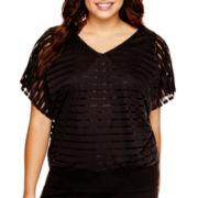 Alyx® Shadow-Striped Dolman-Sleeve Top - Plus