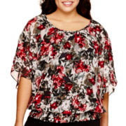 Alyx® Elbow-Sleeve Floral Printed Top - Plus