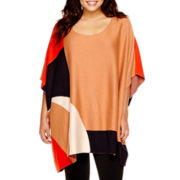 Worthington® Colorblock Poncho Sweater - Plus