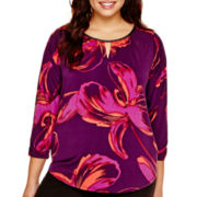 Worthington® 3/4-Sleeve Keyhole Blouse - Plus