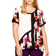 Worthington® Short-Sleeve Colorblock High-Low T-Shirt - Plus