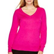Worthington® Long-Sleeve Essential V-Neck Sweater - Plus