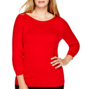 Worthington® 3/4-Sleeve Boatneck Sweater - Plus