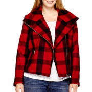 a.n.a® Plaid Wool-Blend Moto Jacket - Plus