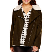 a.n.a® Asymmetrical Sherpa Collar Moto Jacket - Plus