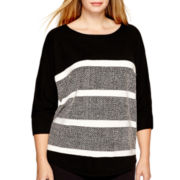 a.n.a® 3/4-Sleeve Textured Sweater - Plus