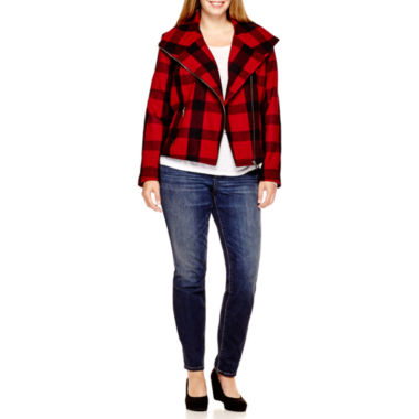 jcpenney.com | a.n.a® Plaid Moto Jacket, Fleck T-Shirt or Skinny Jeans - Plus