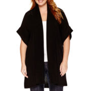 Liz Claiborne® Short-Sleeve Textured Cocoon Duster - Plus