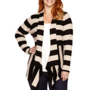 St. John's Bay® Long-Sleeve Ribbed Flyaway Cardigan - Plus