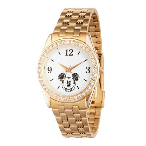 Disney Mickey Mouse Womens Gold Tone Bracelet Watch-Wds000382
