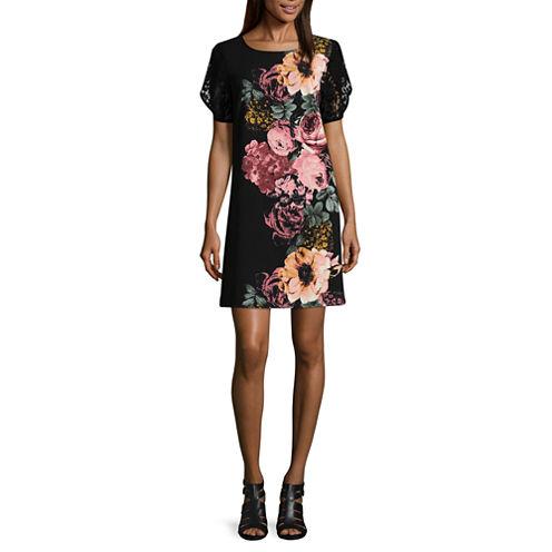 Luxology Short Sleeve Floral Shift Dress