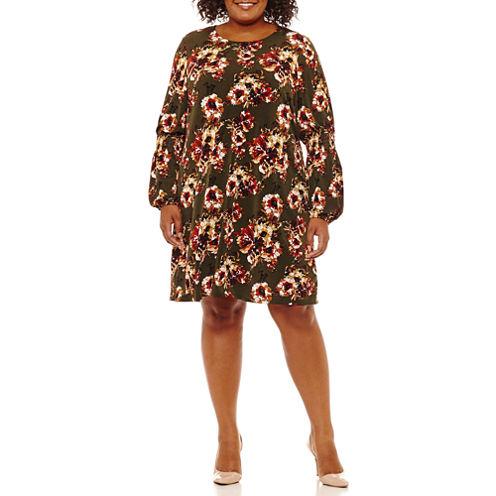 R & K Originals Long Sleeve Floral Sheath Dress-Plus