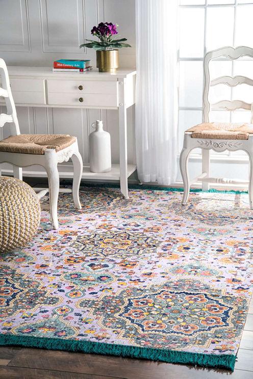 nuLoom Flatweave Cotton Lina Mosaic Tassel Rug