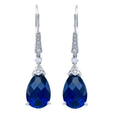 jcpenney.com | Sterling Silver Lab-Created Blue Sapphire Drop Earrings