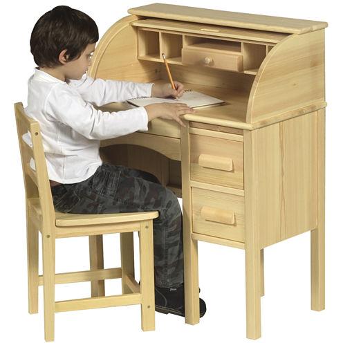 Guidecraft Jr. Roll-Top Desk & Chair - Light Oak