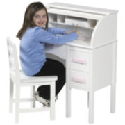 Guidecraft Jr. Roll-Top Desk & Chair - White