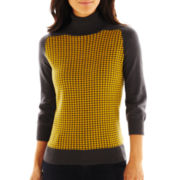 Liz Claiborne 3/4-Sleeve Houndstooth Turtleneck Sweater