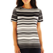 Liz Claiborne Short-Sleeve Striped Top