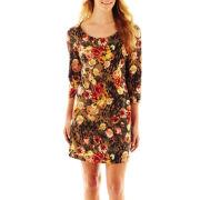 Allen B.® 3/4-Sleeve Print Dress